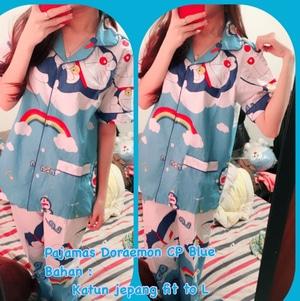 Setelan Baju Tidur Piyama Wanita Gambar Doraemon Warna Biru