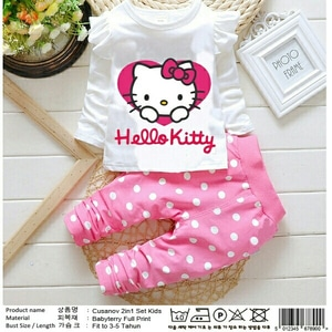 Setelan Baju dan Celana Panjang Anak Perempuan Gambar Hello Kitty