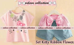 Setelan Baju dan Celana Pendek Anak Perempuan Gambar Hello Kitty