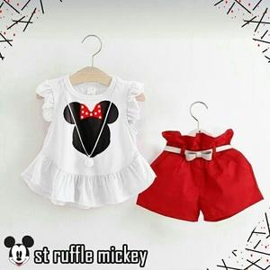 Setelan Baju dan Celana Pendek Anak Perempuan Gambar Mickey Mouse Model Terbaru