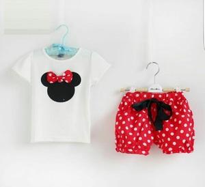 Setelan Baju dan Celana Pendek Anak Perempuan Motif Polkadot