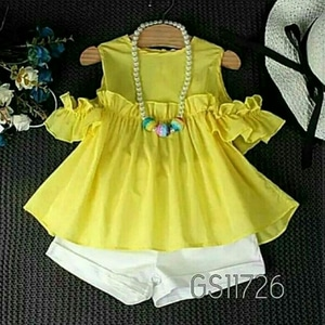 Setelan Baju dan Celana Pendek Anak Perempuan Warna Kuning Lucu Model Terbaru