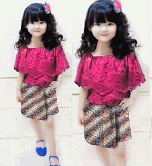 Setelan Baju dan Rok Mini Batik Anak Perempuan Modern