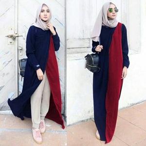 Setelan Hijab 3 in 1 Baju Tunik Modis Modern Model Terbaru Cantik Masa Kini Murah