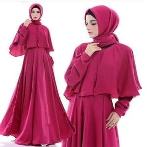 Setelan Hijab Baju Gamis Long Dress Muslim dan Pashmina Modern Model Terbaru