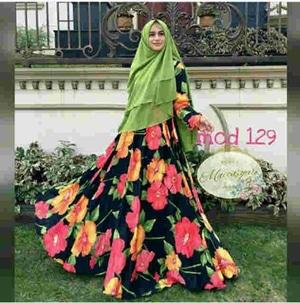 Setelan Hijab Modis Baju Gamis Syari Maxmara Motif Modern Model Terbaru