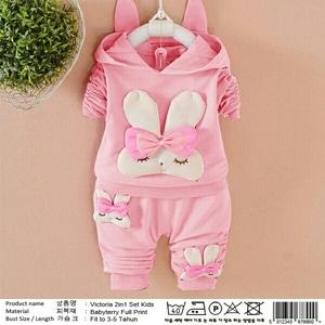 Setelan Jaket dan Celana Panjang Anak Perempuan Warna Pink