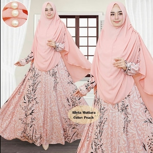 Setelan Pakaian Muslimah Wanita Gamis Syari Jilbab Bergo Mutiara Model Terbaru