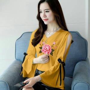 Baju Atasan Wanita Blouse Bordir Bahu Bolong Modern