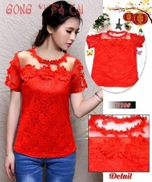 Baju Atasan Wanita Blouse Chinese Bahan Brukat Warna Merah