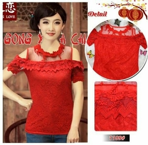 Baju Atasan Wanita Blouse Chinese Brukat Merah Bahu Bolong