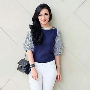 Baju Atasan Wanita Blouse Kombinasi Model Terbaru
