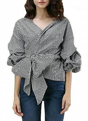 Baju Atasan Wanita Blouse Model Kimono Motif Kotak