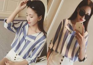 Baju Atasan Wanita Blouse Motif Salur Belang Cantik Modern