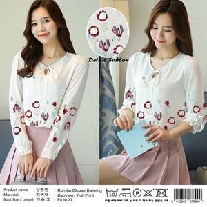 Baju Atasan Wanita Blouse Putih Lengan Panjang Modern