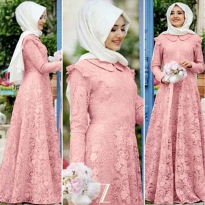Baju Gamis Long Dress Muslim Bahan Brukat Dusty Pink