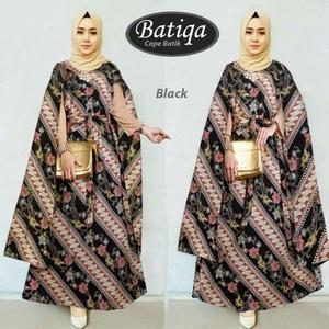 Baju Gamis Long Dress Muslim Kaftan Motif Batik Modern