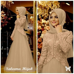 Baju Gamis Long Dress Muslim Kombinasi Bahan Tile Modern