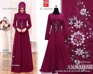 Baju Gamis Long Dress Muslim Kombinasi Bordir & Mute