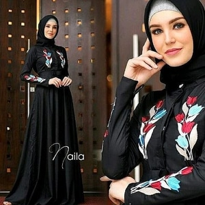 Baju Gamis Long Dress Muslim Warna Hitam Bordir Modern