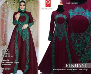 Baju Gamis Pesta Long Dress Muslim Bordir Modern