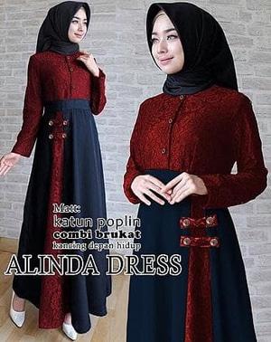 Baju Gamis Pesta Long Dress Muslim Kombinasi Brukat