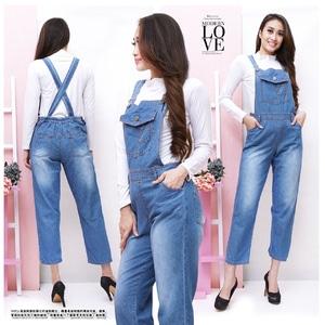Baju Jumpsuit Celana Kodok Wanita Panjang Bahan Jeans Wash