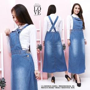 Baju Jumpsuit Rok Overall Wearpack Panjang Bahan Jeans Wash