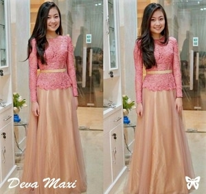 Baju Kebaya Long Dress Bahan Brukat Panjang Modern