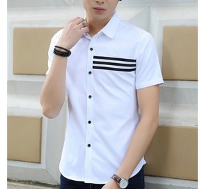 Baju Kemeja Pria Hem Cowok Lengan Pendek Modern