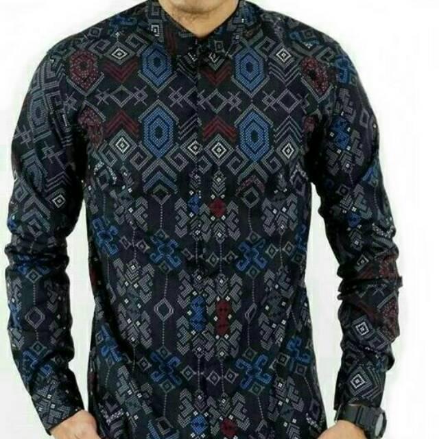 Gambar Batik Lengan Panjang Pria: Baju Kemeja Pria Hem Cowok Motif Batik Lengan Panjang