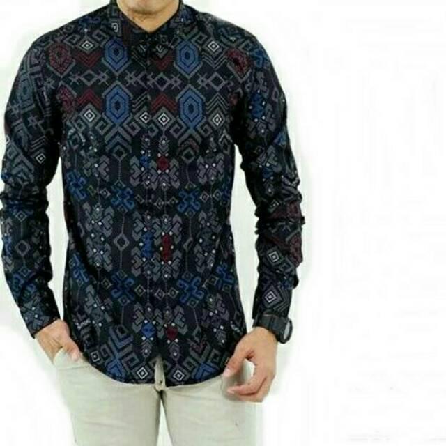 Batik Kemeja Panjang: Baju Kemeja Pria Hem Cowok Motif Batik Lengan Panjang