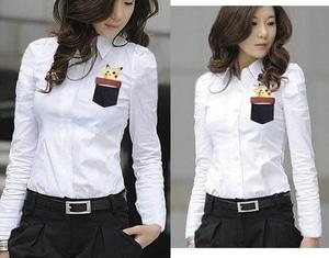 Baju Kemeja Wanita Hem Cewek Lengan Panjang Warna Putih