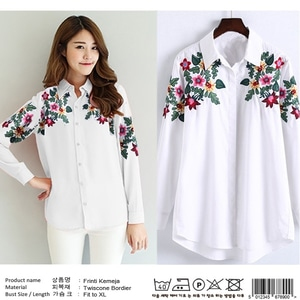Baju Kemeja Wanita Hem Cewek Panjang Bordir Warna Putih