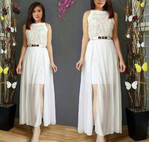Baju Long Dress Maxy Gaun Pesta Panjang Warna Putih