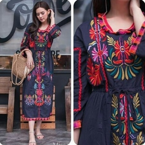 Baju Long Dress Maxy Panjang Bordir Cantik Modern
