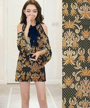 Baju Mini Dress Pendek Bahu Bolong Motif Batik Modern