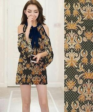 Baju Mini Dress Pendek Bahu Bolong Motif Batik Modern Ryn Fashion