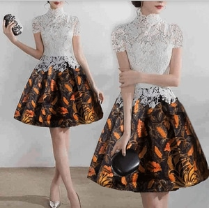 Baju Mini Dress Pendek Brukat Putih Kombinasi Batik Cantik