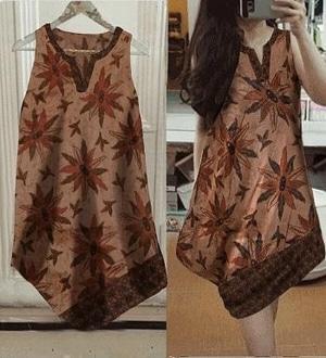 Baju Mini Dress Pendek Lengan Buntung Motif Batik Modern