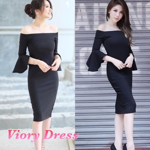 Baju Mini Dress Pendek Model Sabrina Lengan Terompet