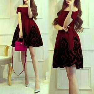 Baju Mini Dress Pendek Model Sabrina Merah Maroon