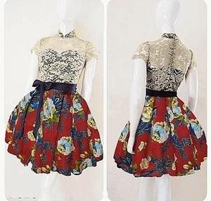 Baju Mini Dress Pendek Pesta Kombinasi Bahan Brukat