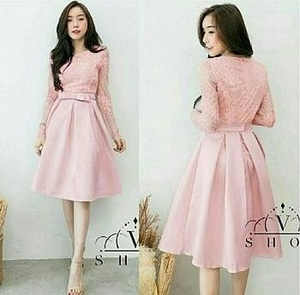 Baju Mini Dress Pendek Pesta Kombinasi Brukat Cantik