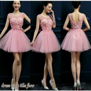 Baju Mini Dress Pendek Pesta Kombinasi Tile Modern