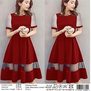 Baju Mini Dress Pendek Pesta Wanita Kombinasi Tile Cantik
