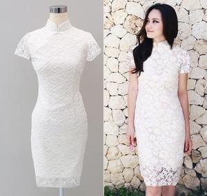 Baju Mini Dress Pendek Wanita Bahan Brukat Cantik