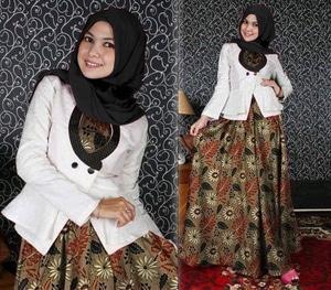 Setelan Baju Blazer dan Long Dress Muslim Motif Batik