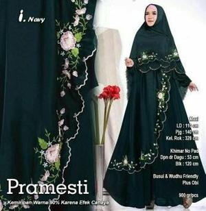Setelan Baju Gamis Syari Bordir Hijab Bergo Modern