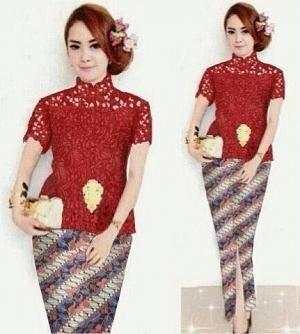 Setelan Baju Kebaya Brukat Lengan Pendek & Rok Batik Panjang
